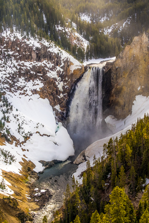 Yellowstone mountain waterfall river landscape