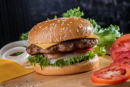 Cheese burger with raw ingredients Standard-Bild
