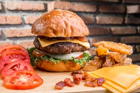 Cheese burger with raw ingredients Stock fotó