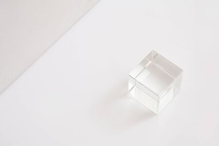 Crystal cubes on white background in orderly pattern