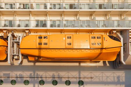 Lifeboats for safety on board passenger cruise