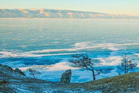 Frozen Lake Baikal. Beautiful winter landscape with tree and rocks in foreground