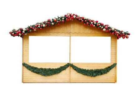 Wooden kiosk with Christmas decoration isolated on white background Imagens