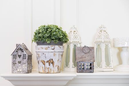 House hold decoration in rustic style, vase and candle holders