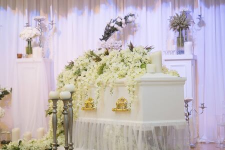 Decoration in rustic style in the funeral with coffin