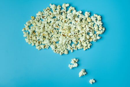 Popcorn thought cloud on blue background