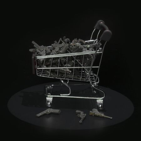 Shopping trolley carrying a lot of guns in dark environment