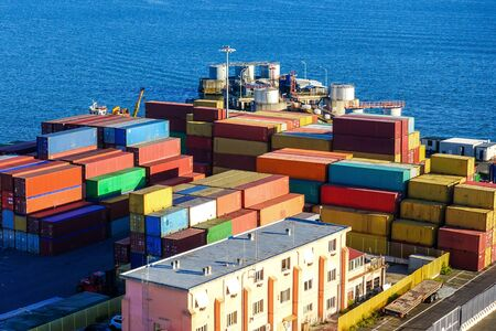 Container at the port, bright colorful loading area