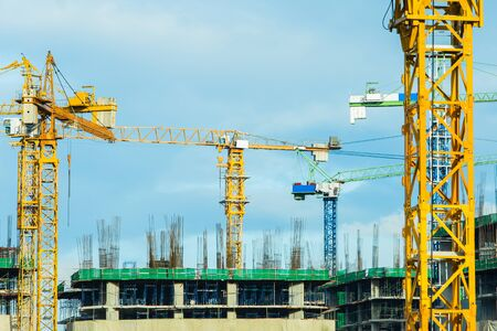 Cranes operating in the construction sites