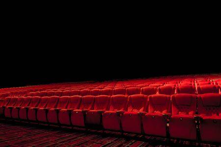 Theater red seats in dark environment Stock fotó