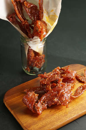 Thai pork jerky fried with sesame