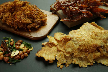 Dried shreded pork and pork jerkies and fried peanuts with chilli and garlic sets