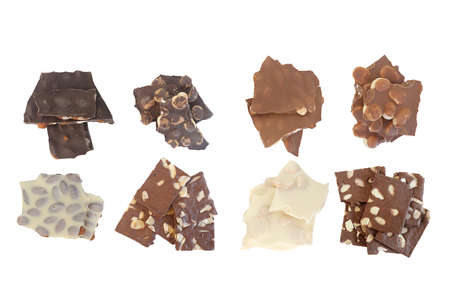 Various types of chocolate bars isolated on white background Reklamní fotografie