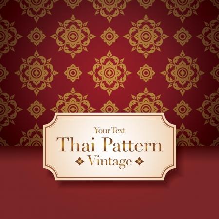 asian culture: Thai, arte, fondo, modello arte tailandese. Vettoriali