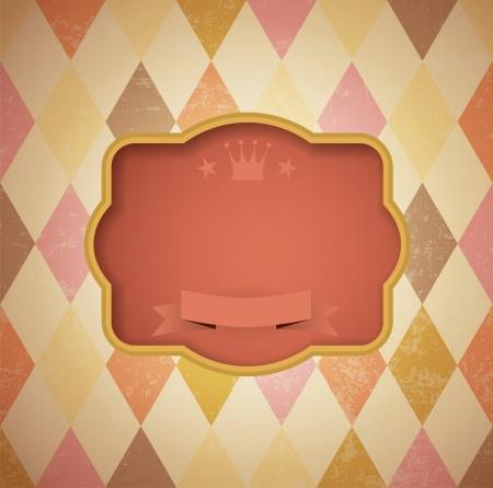 stylish:  vintage frame on diamond shape background - vintage template. Illustration