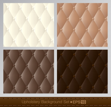 button tufted: Vector abstract upholstery background  Brown color set   Illustration