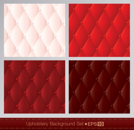 tufted: Vector abstract upholstery background  Red color set
