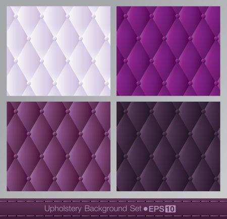 button tufted: Vector abstract upholstery background  Purple color set