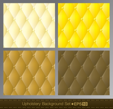 button tufted: Vector abstract upholstery background  Yellow color set