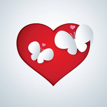 Vector paper butterfly in heart shap  Vector