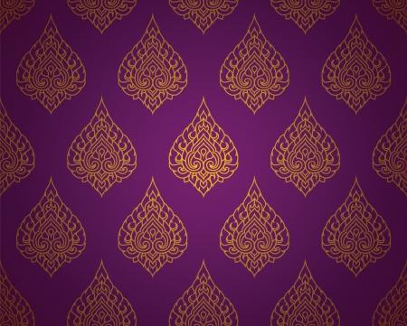purple silk: Tradicional tailand�s Arte tailand�s del arte del fondo, patr�n del arte tailand�s, Vector Vectores