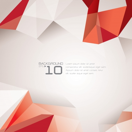 red cube: Polygonal design - Abstract geometrical background   Illustration