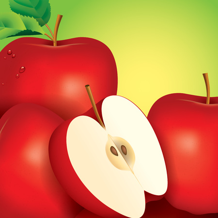 apple slice: Apple vector illustration on green background