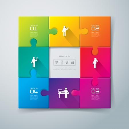 jigsaw set: Infographics design template Illustration