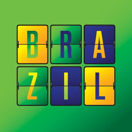 world cup: Brazil scoreboard in Brazilian flag color