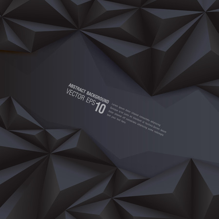 Black geometrical background  polygonal background Vector