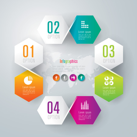 world  hexagon: Infographics design template Illustration