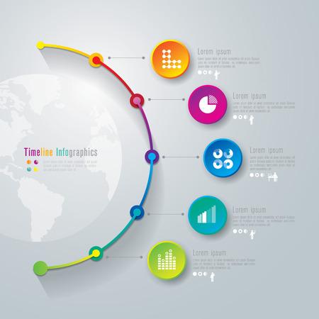 diagrama: Cronolog�a plantilla de dise�o infograf�a