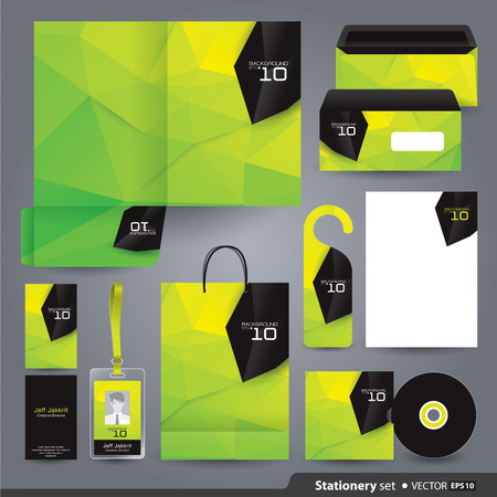 green door: Stationery template design  Illustration