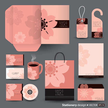 asian business: Stationery template design  Illustration