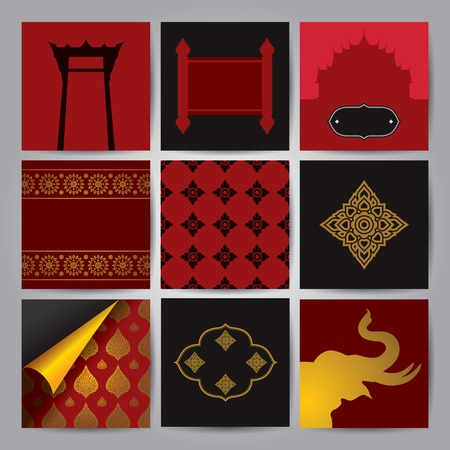 asian art: Set of Asian traditional art Design Vector