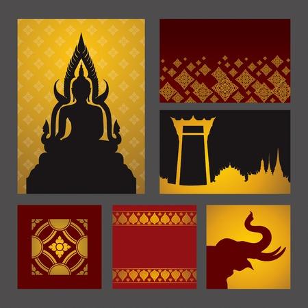 아시아 전통 예술 디자인 벡터의 집합