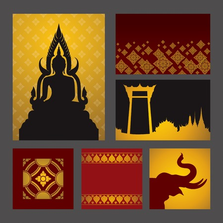 thai temple: Set of Asian traditional art Design Vector