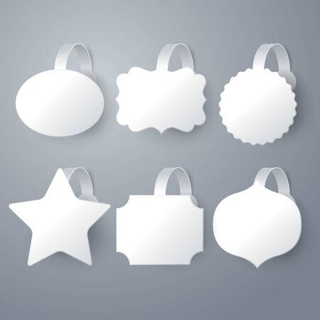 advertising wobbler: white wobbler set on gray  Illustration