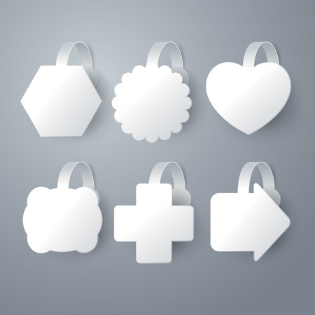 wobbler: Vector white wobbler set on gray  Illustration