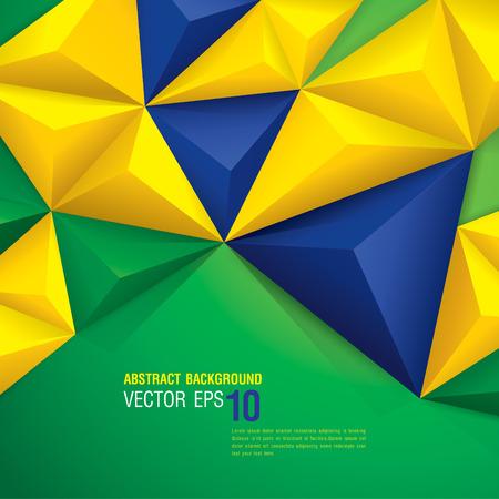soccer background: geometric background in Brazil flag concept