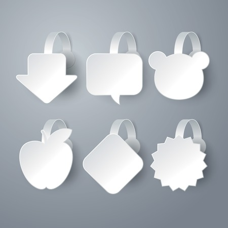 white wobbler set on gray background  Vector
