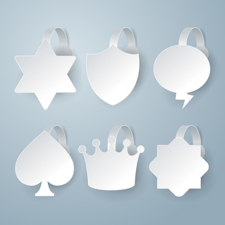 shop display: White wobbler set on gray background