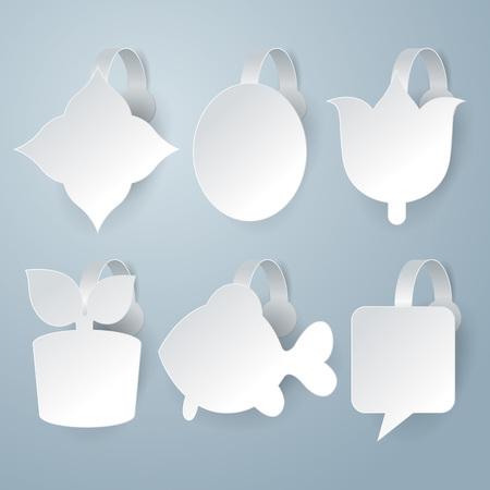 advertising wobbler: White wobbler set on gray background