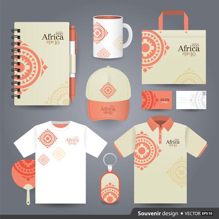 ilustraciones africanas: Plantilla de conjunto de regalos de diseño de identidad corporativa