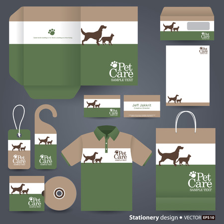 pet care: Stationery template design  Illustration