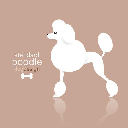 pet store advertising: Standard poodle dog design on color background.