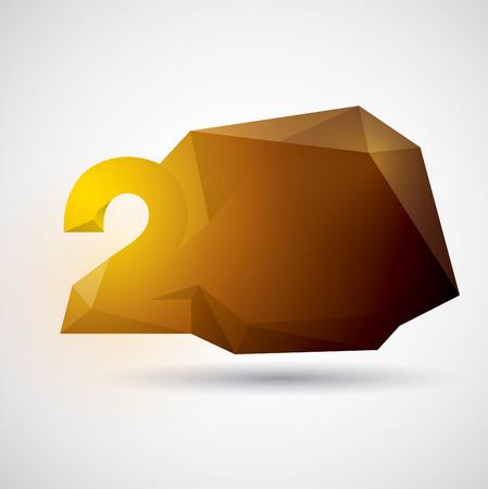 Polygonal number design. Number 2. Vector