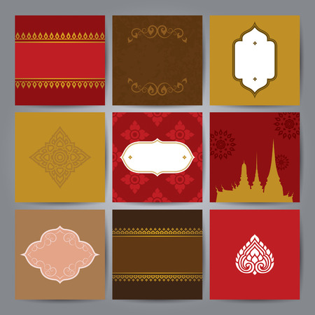 thai temple: Set of Asian traditional art Design Vector.