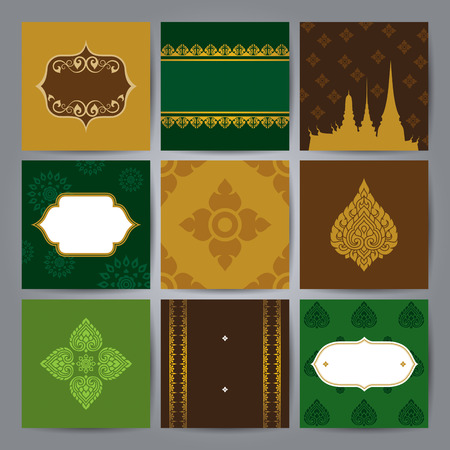 Set of Asian traditional art Design Vector. Vector