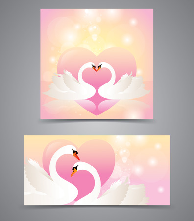 Two graceful Swan with valentine heart card. Vector